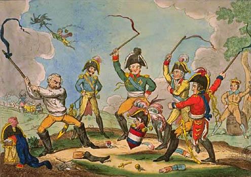 The corsican top in full spin karikatur von cruikshank 1814